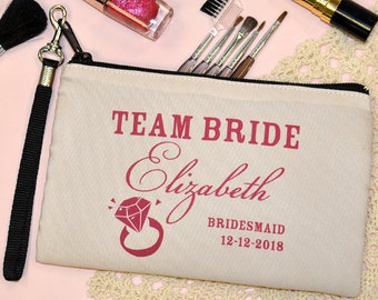 personalized bridesmaid gift, Personalized Cosmetic Bag, Wristlet, makeup bag, Bridal Party Gift