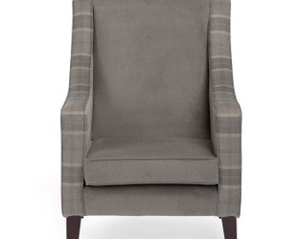 Checked grey reading chair