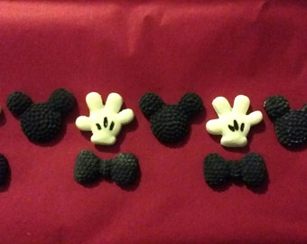 24 edible Mickey mouse hands bows and faces