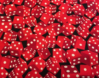 RED DICE, Timeless Treasures, Black Background