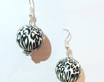 Zebra Print Silver Earrings