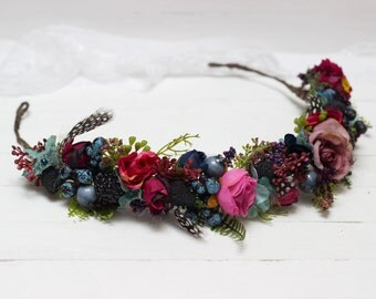 Feather flower hair wreath Fairy flower crown Floral crown Bridal flower crown Wedding hair wreath Boho wedding Bridesmaid