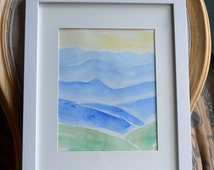Smokey Mountains Watercolor Painting, blue mountains watercolor painting.