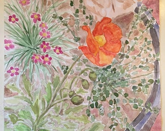 Original Watercolor Painting, Floral Paintings, Orange Poppy Floral Painting