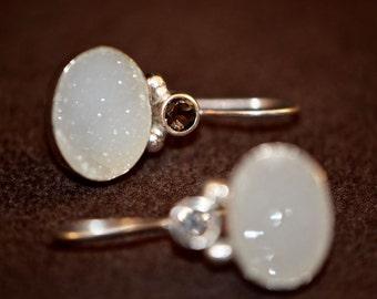 Sterling Silver Druzy Drop Earrings