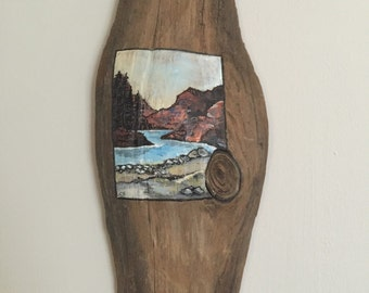 Hand painted miniature landscape on driftwood