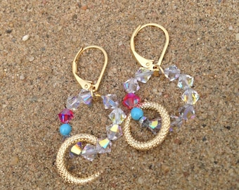 Earrings from Swarovkis - flashy pink Kiss gently cool turquoise
