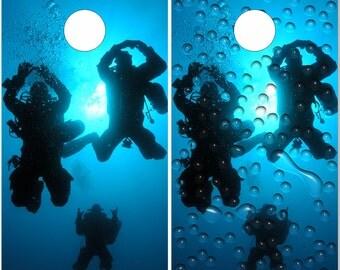 Scuba Diving LAMINATED Cornhole Wrap Bag Toss Decal Baggo Skin Sticker Wraps