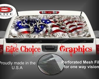 American Buck Obliteration Buck Snow Rear Window Graphic Tint Decal Sticker Truck SUV Van Car