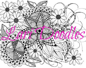 Adult Colouring Page, Adult Coloring Page, Coloring, Colouring, Digital Download, Downloadable PDF, Flowers, Zentangle, Zendoodle
