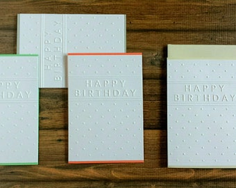 Happy Birthday Card, For Her Card, For Him Card, Embossed Card, Blank Card