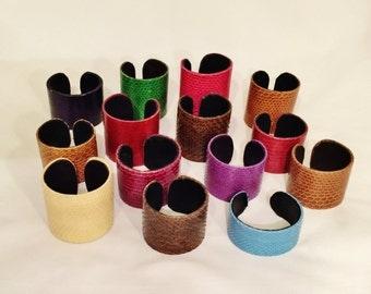 Snake skin cuff bracelet - selection of colours