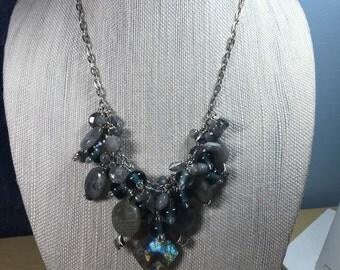 Labradorite beaded cluster necklace