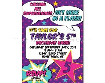 Printable CUSTOM Girl Superhero Party Invitation, Printable Superhero Party Invite, Girl Superhero Invite 5x7 Inch DIGITAL FILE