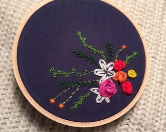 4 inch Joyful Bouquet Embroidery Hoop Art