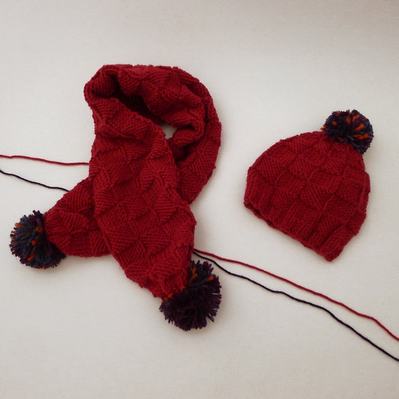 Knitting Patterns And Wool Sets : Items similar to Wool toddler scarf & hat,hand-knitted merino wool access...