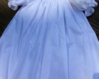 Baby Girls Hand Smocked White Bishop Dress, Size Newborn