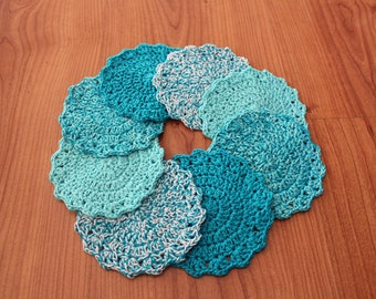 Crocheted cotton coasters. Free shipping!