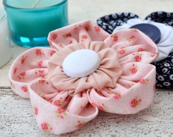 Fabric Flower Brooch, Pink & White, Cherished Flower, Bereavement Gift, Cotton Flower, Fabric Corsage,  Buttonaire, Wedding, Bridesmaid