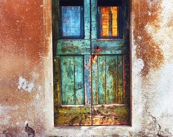 Rustic Old Door, Modica Sicily, Weathered Rust Colored Building, Turquoise Distressed Doors, Wall Decor