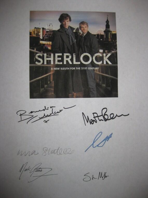 Sherlock TV Signed Script Screenplay X6 Autograph Benedict Cumberbatch Martin Freeman Una Stubbs Gemma Chan Mark Gatiss Steven Moffat PBS