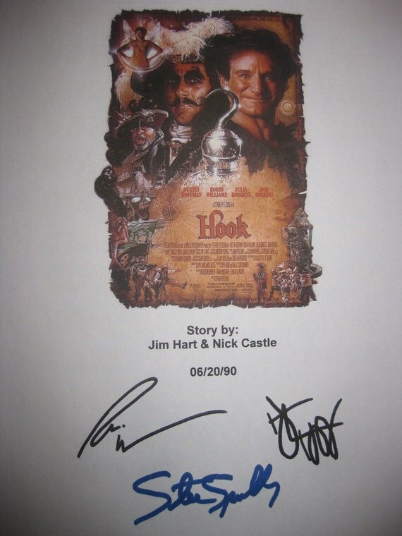 Hook Signed Movie Film Script Screenplay Autographs Robin Williams Steven Spielberg Dustin Hoffman signature classic film