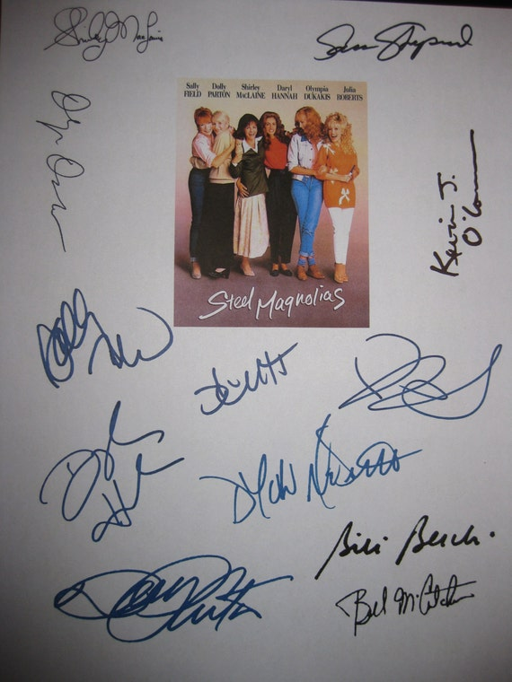 Steel Magnolias Signed Film Movie Script Screenplay X12 Autographs Dolly Parton Sally Field Shirley MacLaine Daryl Hannah Julia Roberts