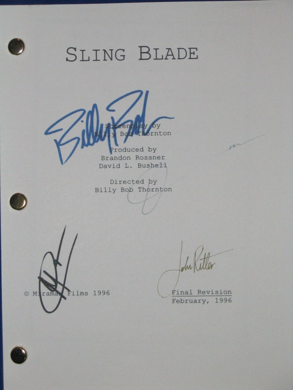 Sling Blade Signed Movie Film Screenplay Script X4 Autographs John Ritter Billy Bob Thorton Dwight Yoakam Robert Duvall signatures classic