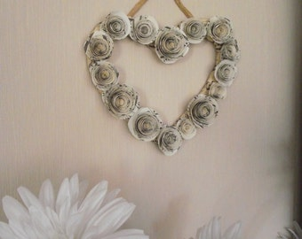 Recycled Paper Rose Heart-Shaped Wreath