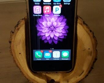 Wooden bark cell phone holder