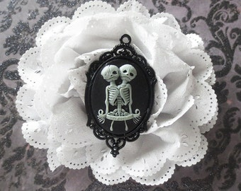 Siamese twins Hair Bow, eyelet, large flower,cameo,