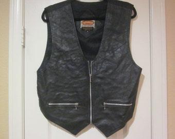 Leather black vest vintage size M (mens or womens)