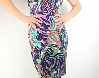Dress, dancewear, jersey knit, Argentine tango, salsa, tropical print