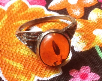 Ring Vintage silver and amber size 54