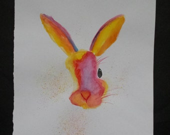 A4 Watercolour Rabbit Painting