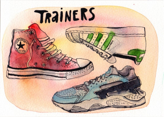 Trainers - Pen and Watercolour Painting