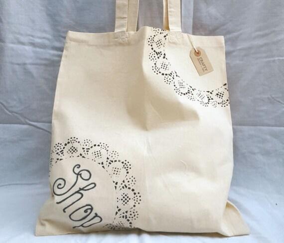 Natural Cotton Tote Shopping Bag Shopper With Handmade Black Shop Stencil Design