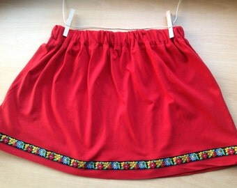 Red Cotton Girls Skirt with Floral Trim