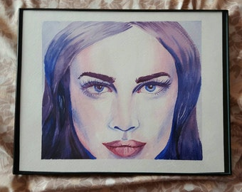 Framed Original Watercolor Portrait