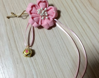 pink fabric flower hairpin
