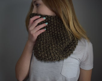 Hand Knitted Large Cowl / Coffee