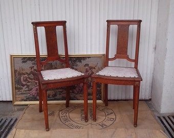 2 Empire style wooden chairs and wood plated with coats of arms