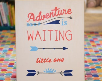 Adventure is Waiting Little One Canvas - Baby Girl - Baby Boy - Hand Painted Nursery Wall Art