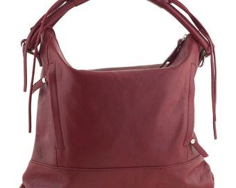 Leather Shoulder Bag - Red - JO982