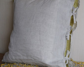 Linen Cushion Cover with Ties