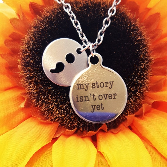 Suicide Prevention Logo, My Story Isn't Over Yet, Semicolon Project Jewelry, Semi colon Charm Necklace, Semi Colon Jewelry,Semi-Colon Gift