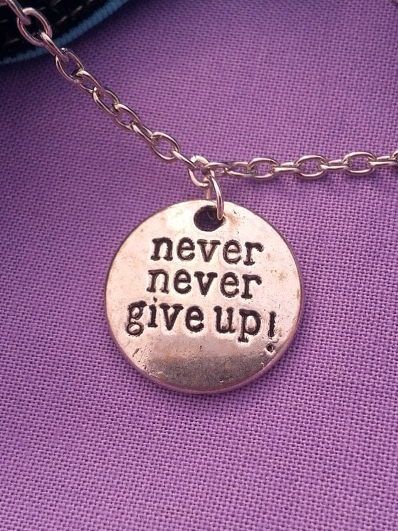 Fitness Gifts, NEVER Give Up Charm Necklace, CrossFit Jewelry, Sports Team Gifts, Motivational Jewelry, Inspirational Quotes, Word Charms