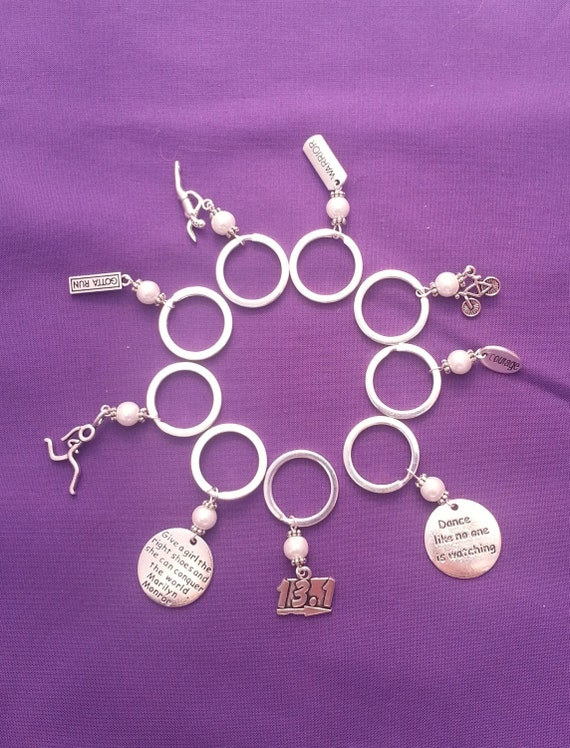 Sports Charm Key Ring, Fitness Key Chains, Unique Fun Key Ring, Motivational Inspirational Jewelry, Coach Team Gifts, Swim Bike Run Key Ring