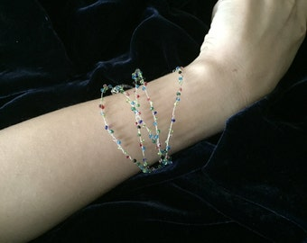 Silvi- silver wire bracelet or necklace threaded with glass beads