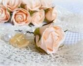 Floral hair pin Peach flower hair pin Bridesmaid headpiece Peach small rose jewelry Real touch flower Peach wedding hairpiece Bridal hairpin